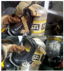 air tank and mask