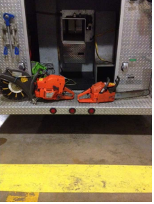 chainsaw on fire truck